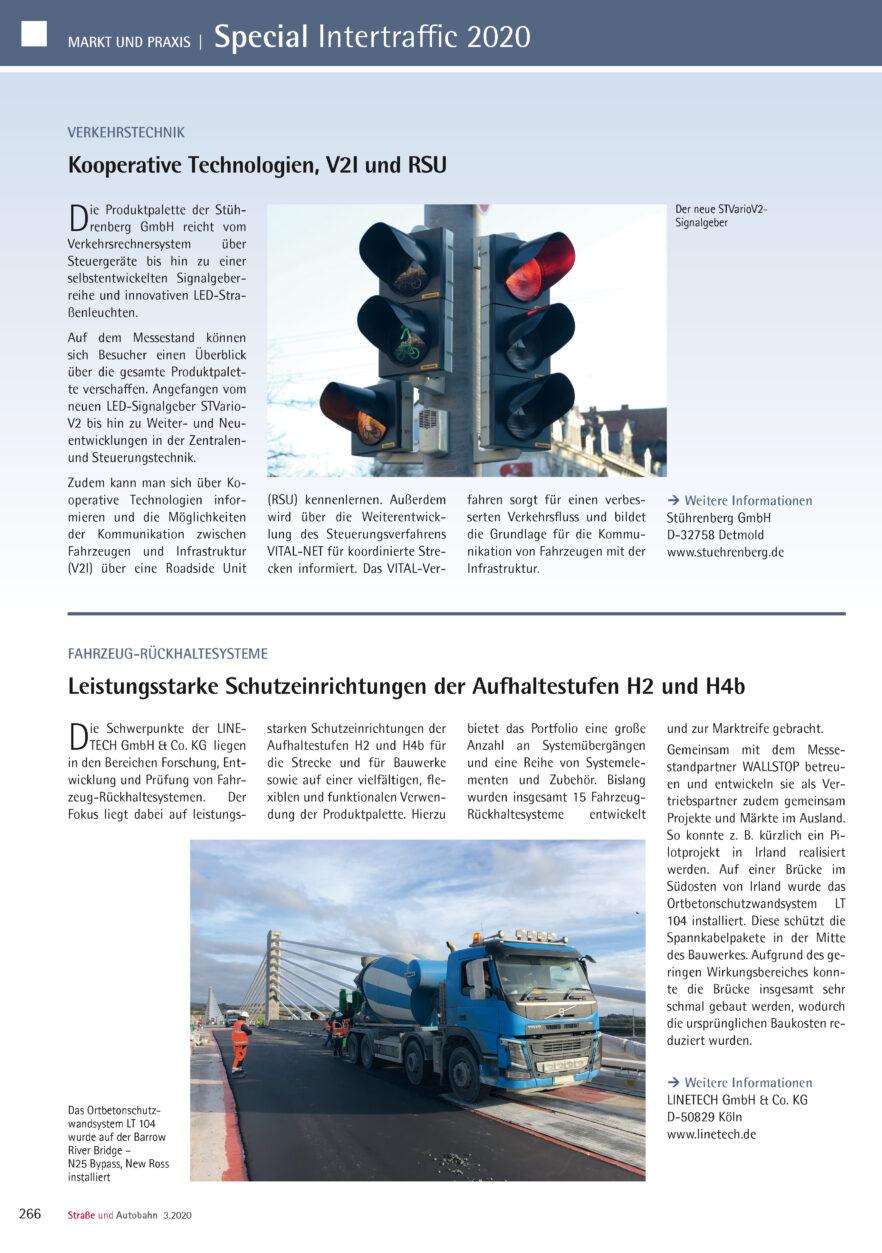 Redaktioneller Beitrag von Linetech für die Straße und Autobahn