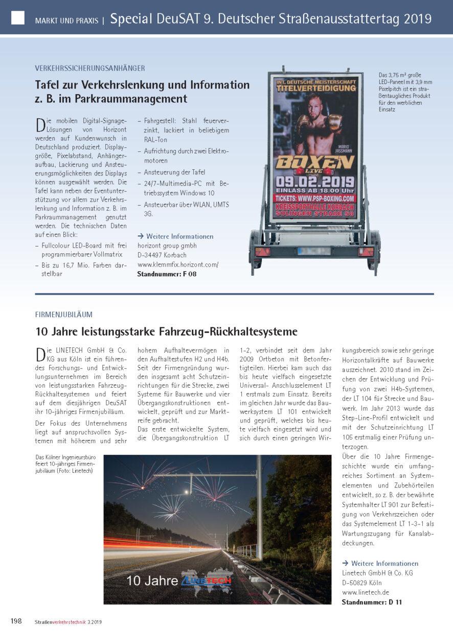 Redaktioneller Beitrag von Linetech für Straßen-Verkehrstechnik